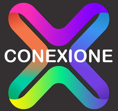 logo Conexione com um X colorido no centro
