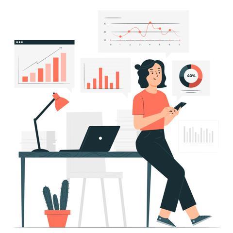 ilustração de mulher encostada em mesa de escritório mexendo no celular e vários gráficos na parede