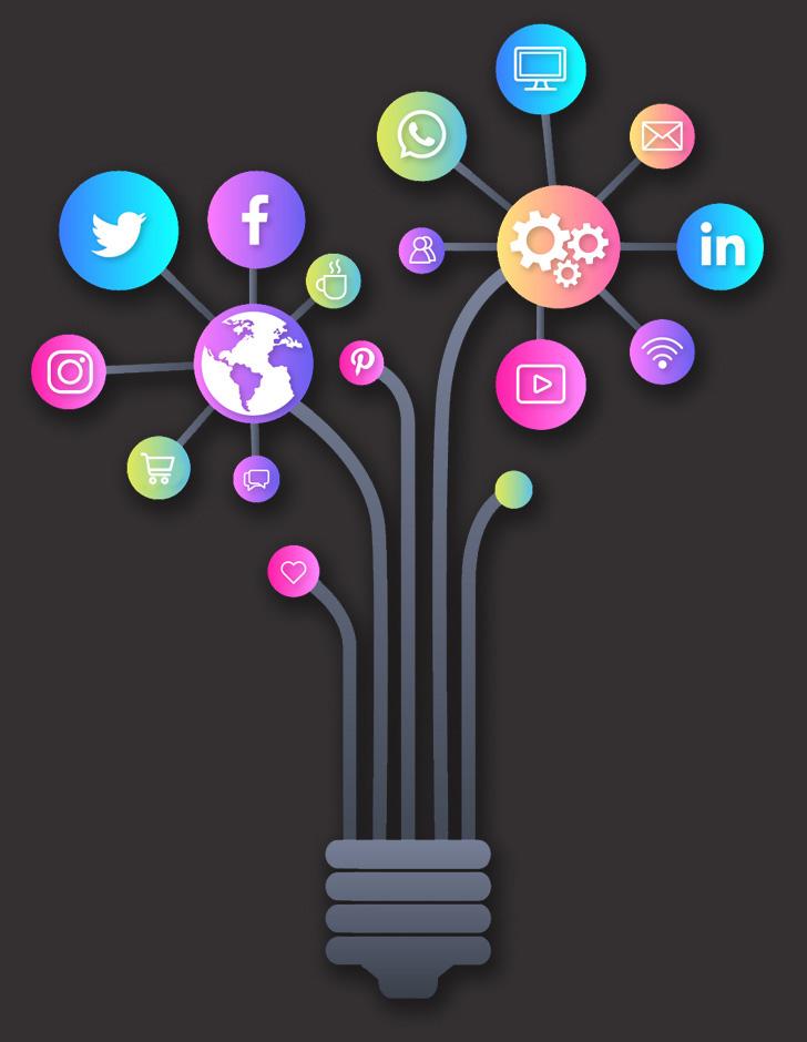 Imagem de um bocal com lâmpadas em formato de ícones de redes sociais e plataformas online