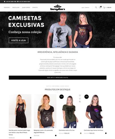 Foto da home do site Baylon, com fotos de roupas estampadas. texto do banner superior. Camisetas Exclusivas.