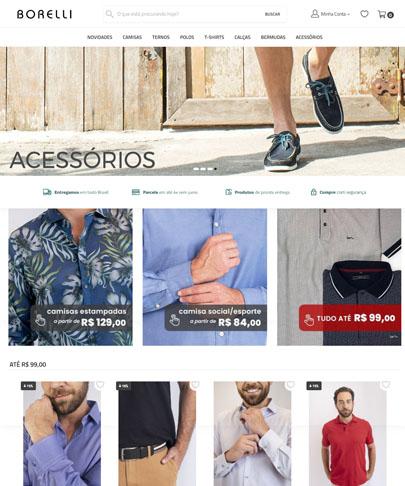 foto da home do site borelli, banner principal pé de modelo vestindo topsiter. fotos de modelo vestindo roupas masculinas.