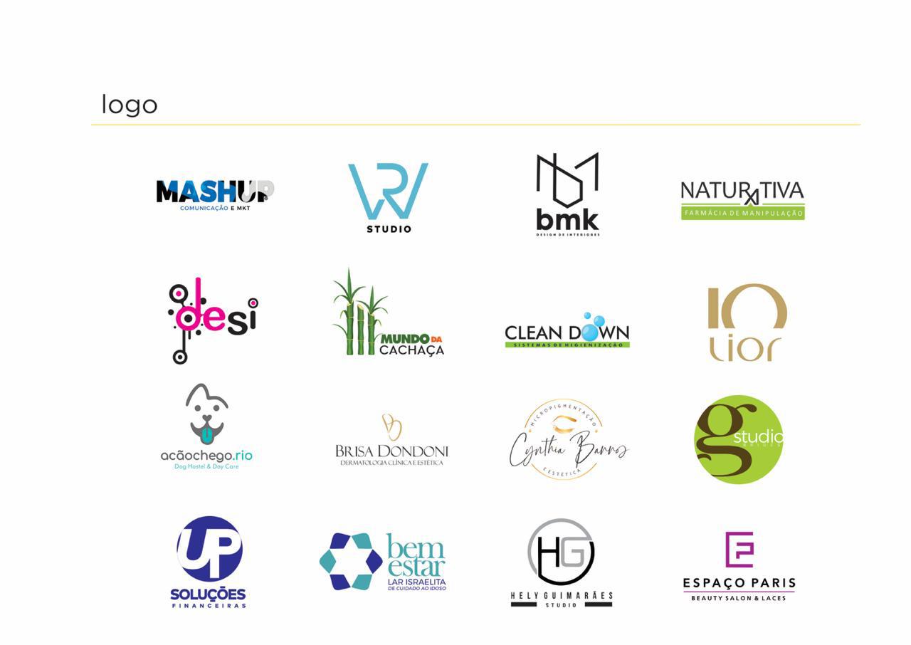 Portfolio design logo - foto contendo diversas logos desenvolvidas pela conexione para marcas como Mashup, mundo da cachaça, Bem Estar, Naturativa, Cleandown e outras