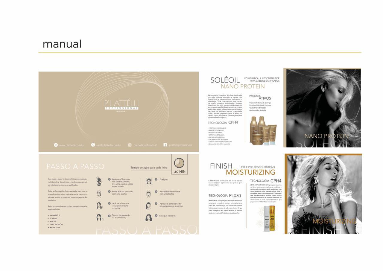 Portfolio design manual - Foto de maual de uso da Plattelli com foto de produtos, descrições e capa com modelo.
