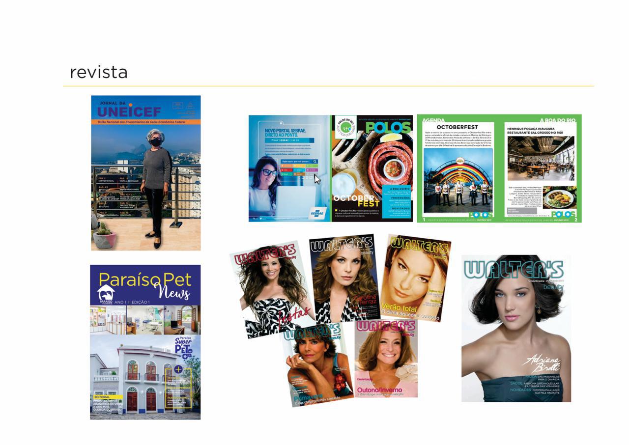 Potifólio Design de Revistas - Foto de diversas capas de revistas produzidas para clientes como unicef, Paraiso Pet e walters