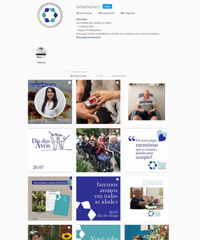 Feed do instagram do Bem Estar - Lar Israelita de Cuidado ao Idoso com fotos da nutricionisata, de idosos, de atividades com idosos e frases como Fazemos amigos em todas as idades.