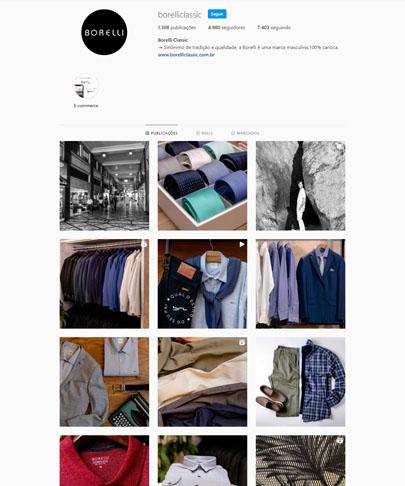 instagram da Borelli Classic com fotos da loja e roupas masculinas no estilo social. camisas, gravatas, ternos, polos, calças, sapatos
