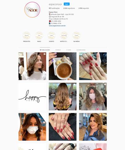 foto do instafra do Espaço Noor com fotos de clientes arrumadas, cabelos feitos e unhas feitas
