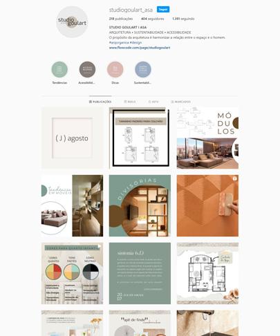 foto do feed do instagram da Studio Goulart com fotos de projetos de arquitetura