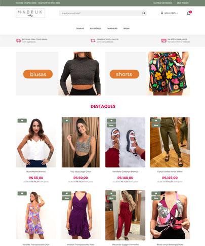imagem do site da Mabruk com várias fotos de roupas femininas lisas e estampadas