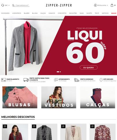 Foto da home do site Zipper Zipper, com fotos de roupas femininas. banner principal com um blazer cinza e texto Liqui 60%
