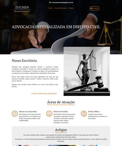 Foto da home do site Zuchen Advogados contei a imagem de uma balança e titulo do banner é Advocacia especializada em direito civil.