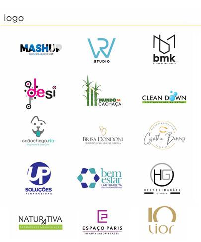 Mídias - foto contendo diversas logos desenvolvidas pela conexione para marcas como Mashup, mundo da cachaça, Bem Estar, Naturativa, Cleandown e outras